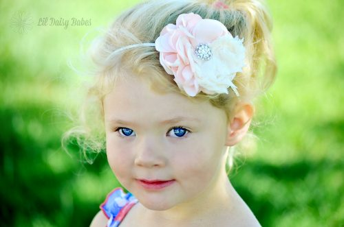 Blush Pink Flower Headband, Newborn Photography Prop, Newborn to Adult sizes, Flower Girl Accessory, Baby Girl Hair Accessories, Newborn Flower Headband