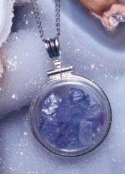 Montana Yogo Sapphire Rough Locket Pendant in Sterling Silver or Gold Filled