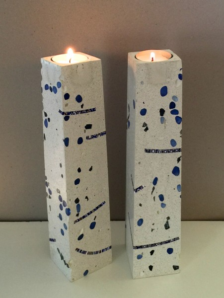 Concrete Votive Candle Holders with Inlayed Glass and Vintage Italian Millefiore Glass