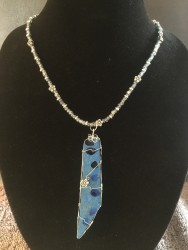 Blue Concrete Pendent with Inlaid Recycled Blue Glass, Wrapped in Silver Wire on a Beaded Necklace