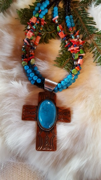 Turquoise and copper cross necklace