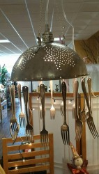 Large Collander/Fork Lamp